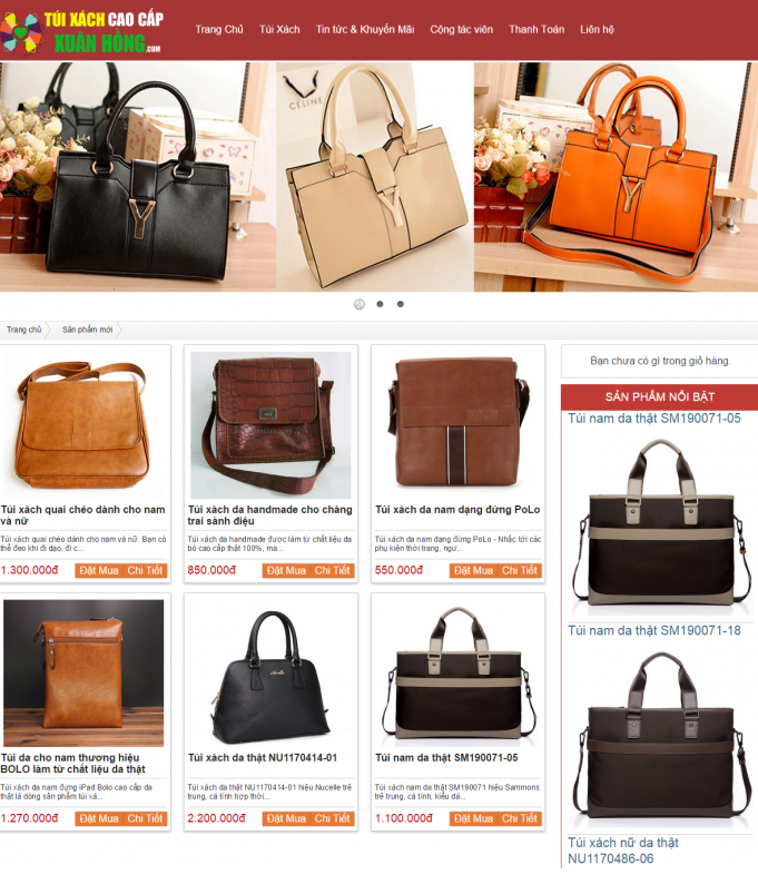 Thiết kế website bán túi xách
