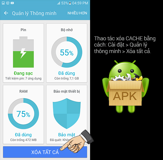 Xóa bộ nhớ CACHE hệ thống Android