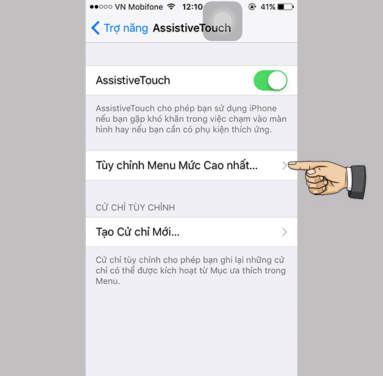 Khóa màn hình với nút home ảo trên iPhone mới nhất 2017 5