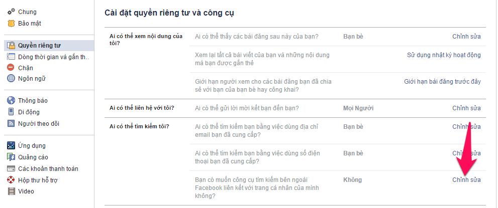 Cách ẩn trang cá nhân Facebook trên các công cụ tìm kiếm-5