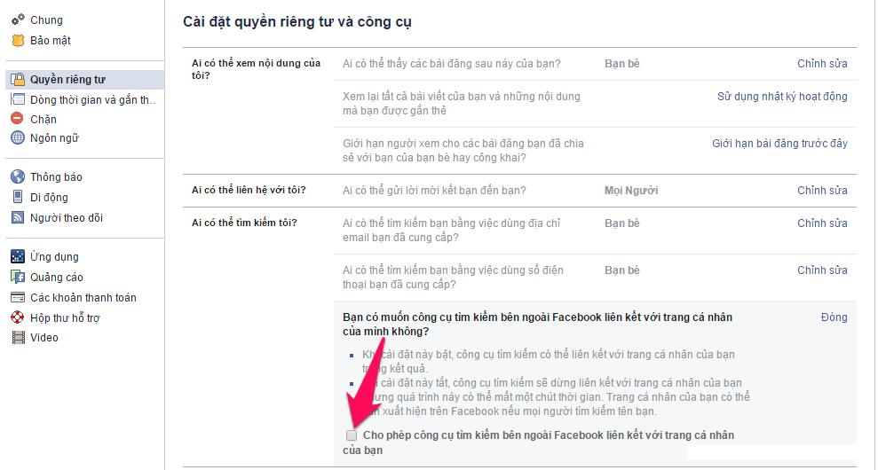 Cách ẩn trang cá nhân Facebook trên các công cụ tìm kiếm-6