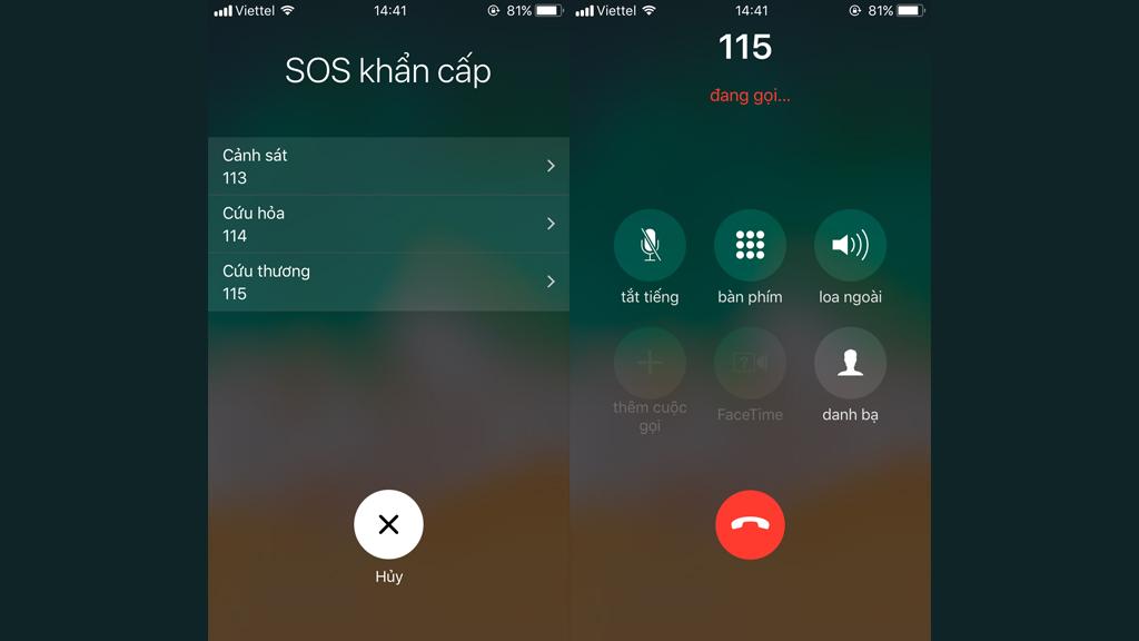 Các bước thiết lập cuộc gọi khẩn cấp trên iOS 11-2