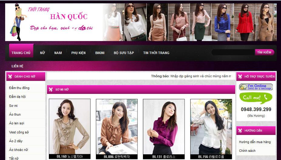Thiết kế website shop thời trang 1