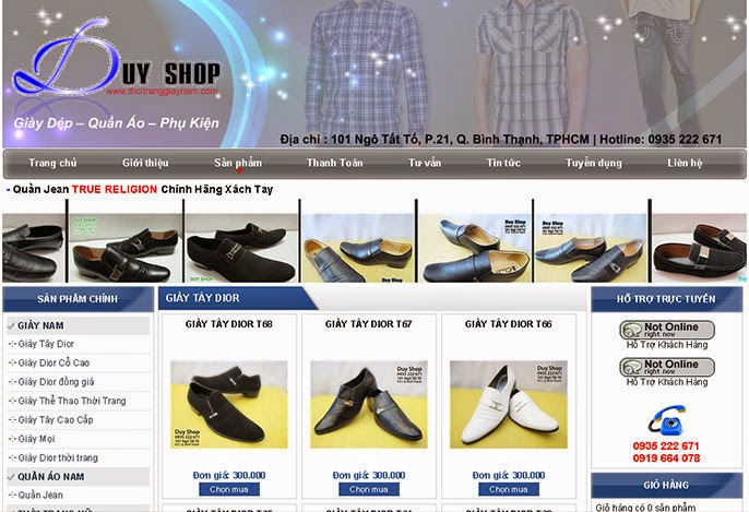 Thiết kế website bán giầy dép 1