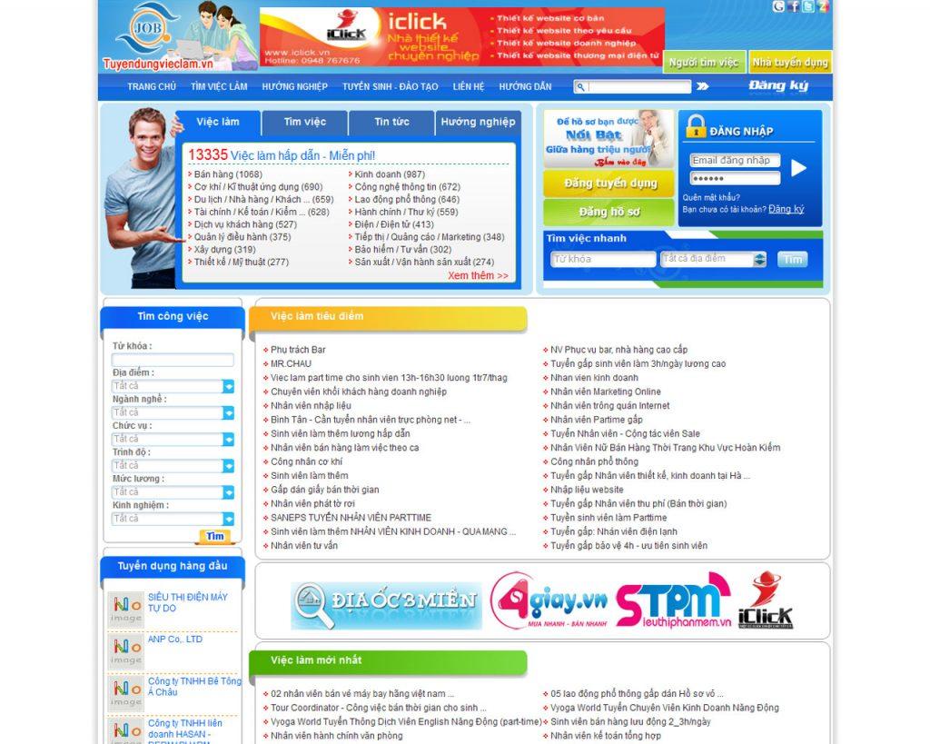 Thiết kế website tuyển dụng việc làm 1