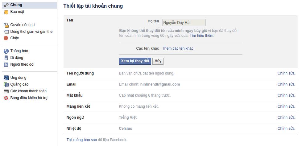 Cách đổi tên Facebook chưa đủ 60 ngày quá 5 lần 3