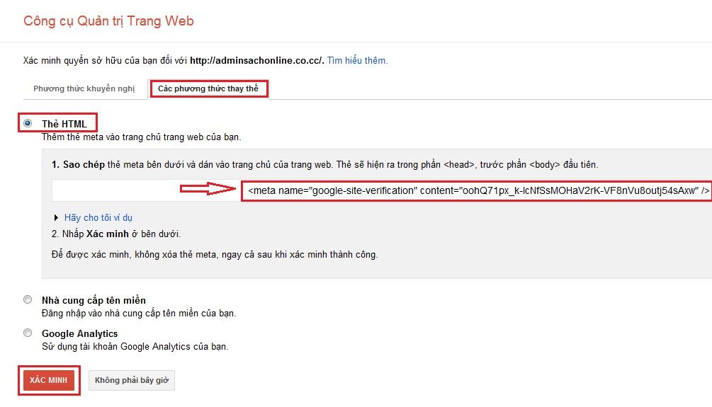 Hướng dẫn cài đặt Google Webmaster Tool 6