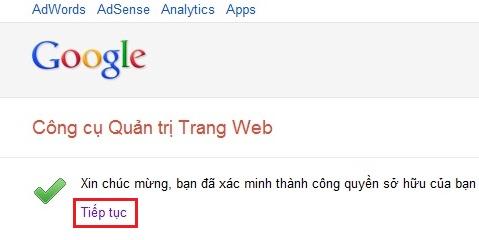 Hướng dẫn cài đặt Google Webmaster Tool 7