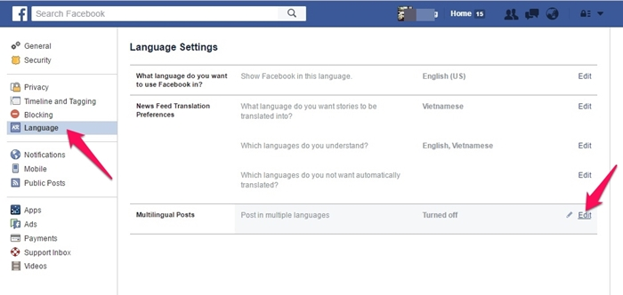 Cách đăng Status Facebook với nhiều ngôn ngữ 2