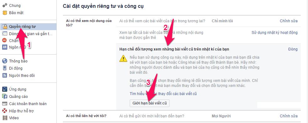 Cách giới hạn người xem bài viết cũ của bạn trên Facebook 2