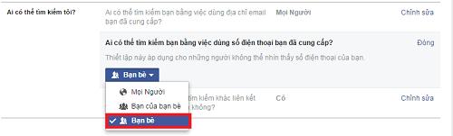 Không cho người khác seach số điện thoại ra Facebook của mình 3