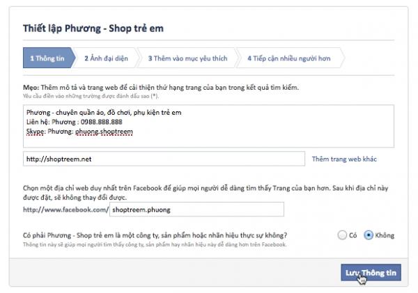 Cách tạo trang web bán hàng trên facebook 4