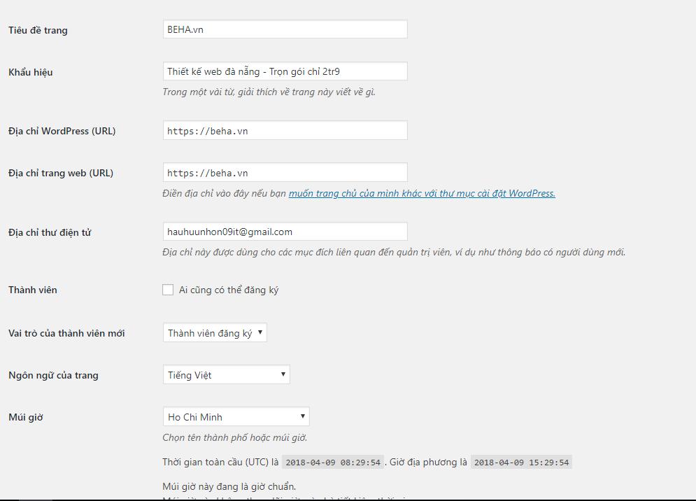 Việc cần làm sau khi cài đặt WordPress 5