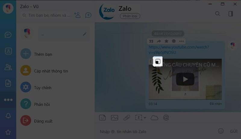 Hướng dẫn xem Youtube thu nhỏ trên zalo khi dùng máy tính 3